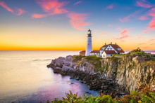 Cape Elizabeth, Maine, USA At Portland Head Light At Dawn.