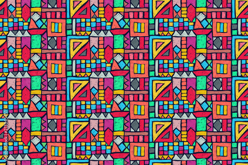 Foto auf AluDibond Boho-Stil Tribal pattern. Ethnic print. Aztec. Abstract geometric fabric. Cloth design. Spiritual fashion. Mystical ornament. Navajo textile. Boho homespun. Hand drawn seamless vector.
