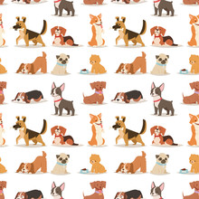 Puppy Cute Playing Dogs Characters Funny Purebred Comic Happy Mammal Doggy Breed Seamless Pattern Background Vector Illustration.