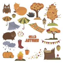 Set Of Autumn Elements. Collection Of Autumn Animals And Plants. Vector Illustration In A Cartoon Style.