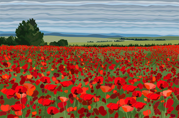 Panel Szklany 3D Bright poppy field with bushes, trees and blue sky vector illustration