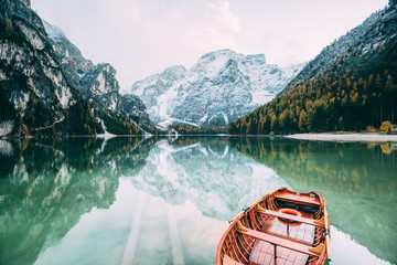 Great alpine lake Braies. L...