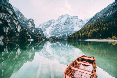 Great alpine lake Braies. Location place Dolomiti, national park Fanes-Sennes-Braies, Italy.