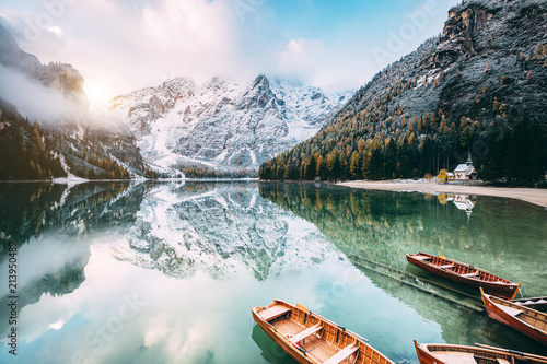Foto op Canvas Pool Great alpine lake Braies. Location place Dolomiti, national park Fanes-Sennes-Braies, Italy.