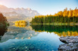 A look at the famous lake Eibsee in sunligth.