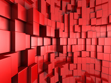 3d Red Abstract Background Of Cubes