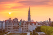 canvas print picture - Brussels City Hall and Mont des Arts area at sunset in Brussels, Belgium