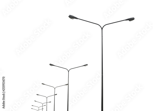 street lightting poles isolated on white