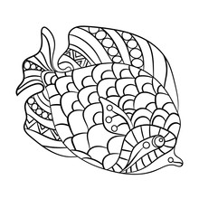 Fish In Coloring Page For Chil...