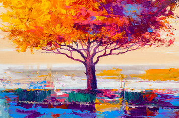 Tree oil painting, artistic...