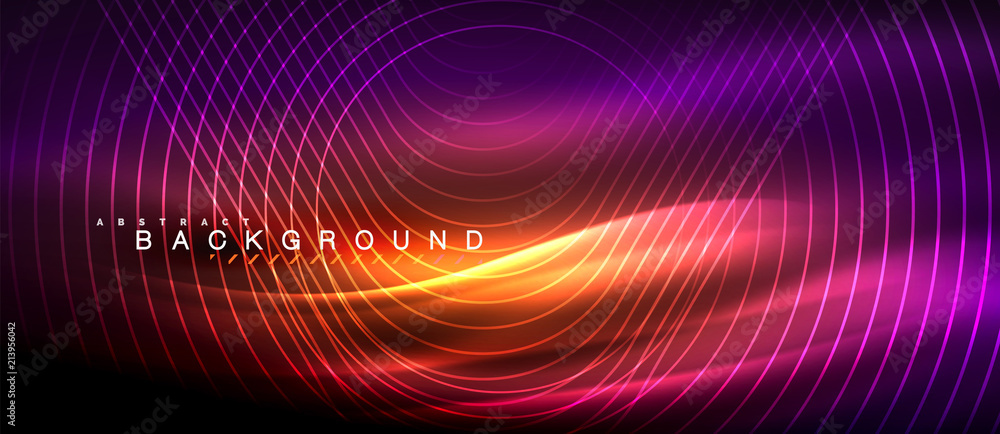 Fototapety, obrazy: Neon glowing lines, magic energy space light concept, abstract background wallpaper design