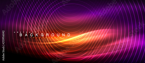 Poster Abstract wave Neon glowing lines, magic energy space light concept, abstract background wallpaper design