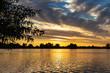 Beautiful sunset in lake Zoetermeerse plas