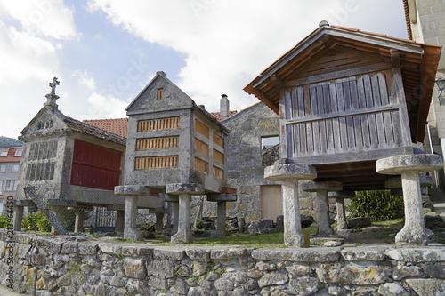 Three horreos, traditional galician barns, in Combarro (Pontevedra, Spain)