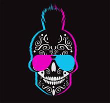 Neon Punk Skull Icon With Sunglasses