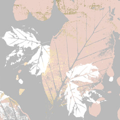FototapetaAutumn foliage rose gold blush background. Chic trendy print with botanical motifs
