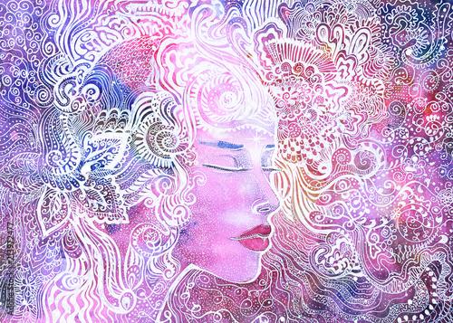 Vászonkép dipinto donna bella eterea concentrazione