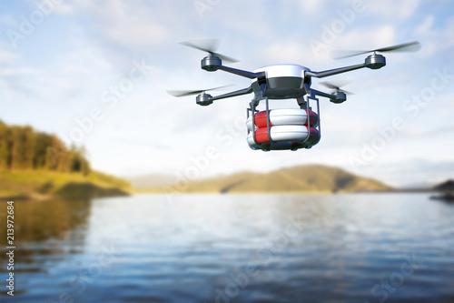 Obraz na plátně Rescue drone with lifebuoy flying over the lake. 3D illustration