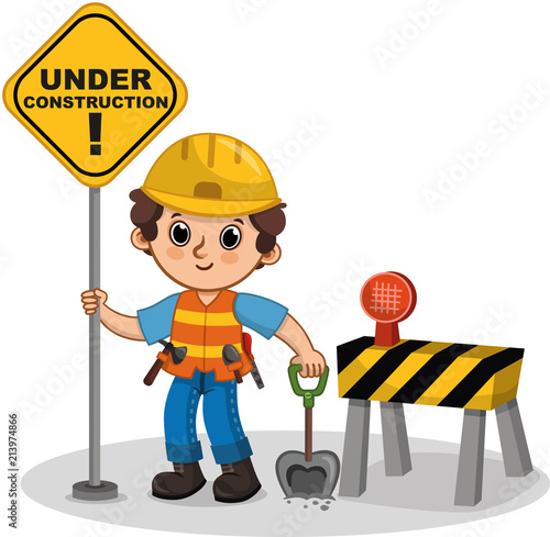 Vector Cute Character Holding The Sign Under Construction Cartoon Illustration Buy This Stock Vector And Explore Similar Vectors At Adobe Stock Adobe Stock