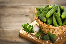 Fresh Cucumbers In The Basket