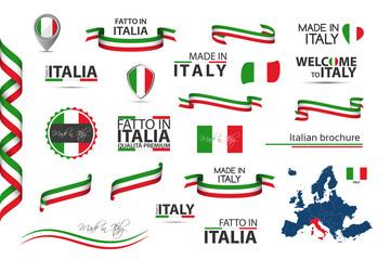 Veliki set talijanskih vrpci, simbola, ikona i zastava izoliranih na bijeloj pozadini, Izrađeno u Italiji, Dobrodošli u Italiju, vrhunske kvalitete, talijanska trobojnica, postavljeni za vaše infografije i predloške
