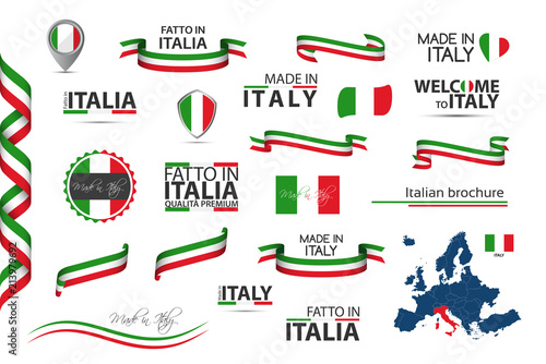 Pinturas sobre lienzo  Big set of Italian ribbons, symbols, icons and flags isolated on a white backgro