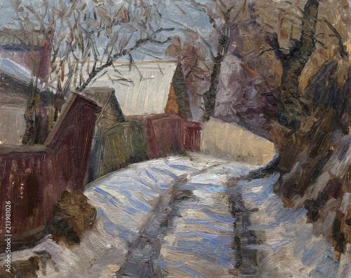 Foto op Plexiglas Chocoladebruin landscape, oil painting, hand made
