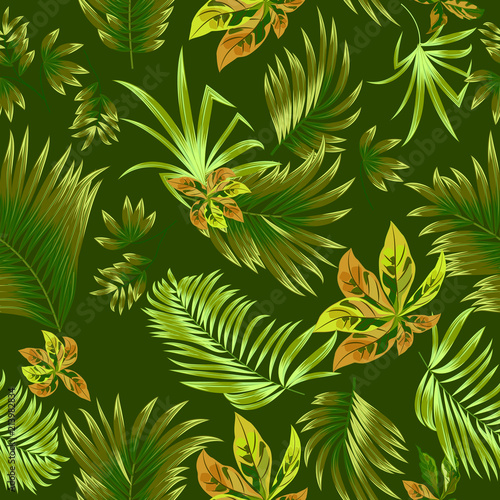 Tuinposter Vlinders Green seamless pattern tropical leaves of palm tree.