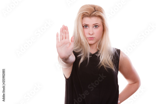 Valokuva  Woman making stop gesture with open hand