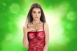 canvas print picture - Beautiful young girl in red body underwear