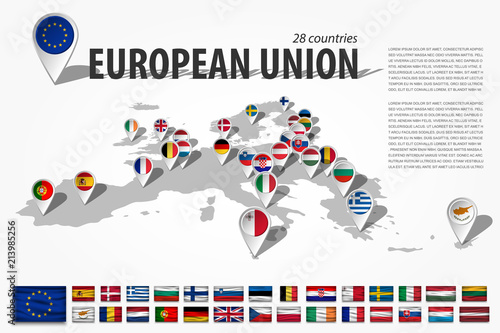 Photo European union 28 countries and GPS navigator location pin with national flag on perspective europe continent map