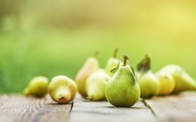 Pear Fruit Isolated On Wooden ...
