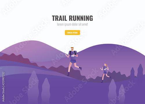 Poster Prune Trail Runner of men and women running on the mountain. beautiful scenery Background. vector illustration