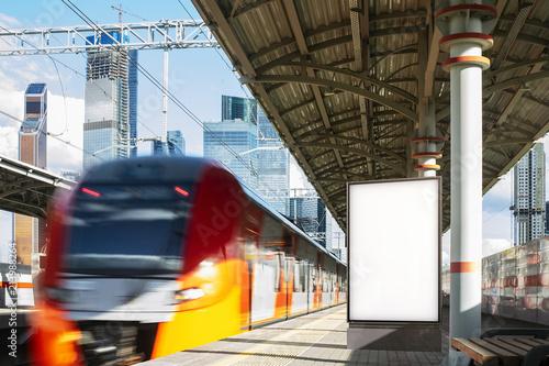 Fotografía  Blank white banner at metro platform, 3d rendering