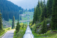 Oil Pipeline In The Mountains