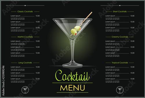 Fototapeta Martini glass. Cocktail menu concept design for alcohol bar. obraz