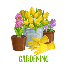 Gardening Banner With Flowers