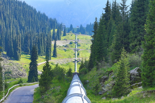 Fototapeta oil pipeline in the mountains obraz