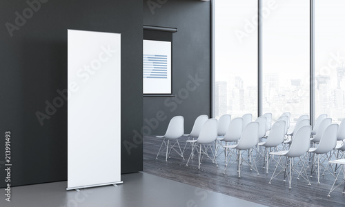 Cuadros en Lienzo Blank white roll up next to meeting room in modern office, 3d rendering