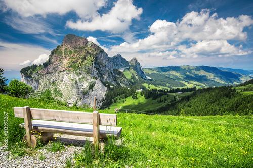 фотографія  Beautiful summer landscape of Switzerland with Grosser Mythen mountain and green