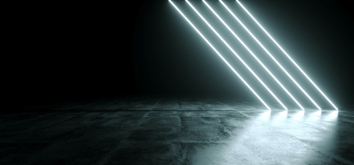 Futuristic Sci Fi White Neon Glowing Line Lights In Empty Dark Room With Concrete Floor WIth Reflections And Empty Space For Text 3D Rendering