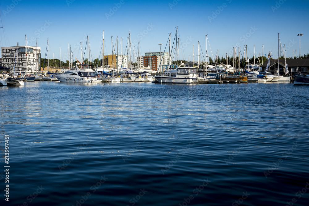 Fototapeta Blue waters on Ipswich waterfront at the Neptune Marina