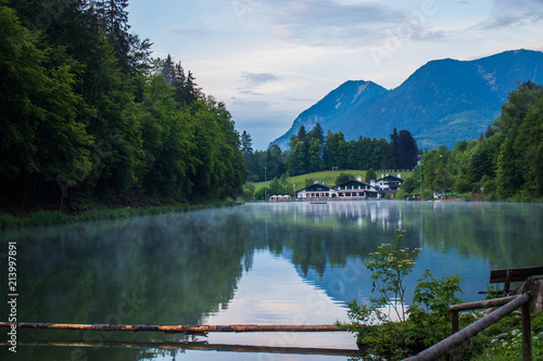 Fotografie, Obraz  Lake resort in the Alps