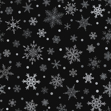 Christmas Seamless Pattern Of Snowflakes, Gray On Black Background.