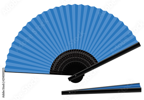 Hand fan, blue, open and closed, three-dimensional, realistic - isolated vector illustration on white background. - 214000025