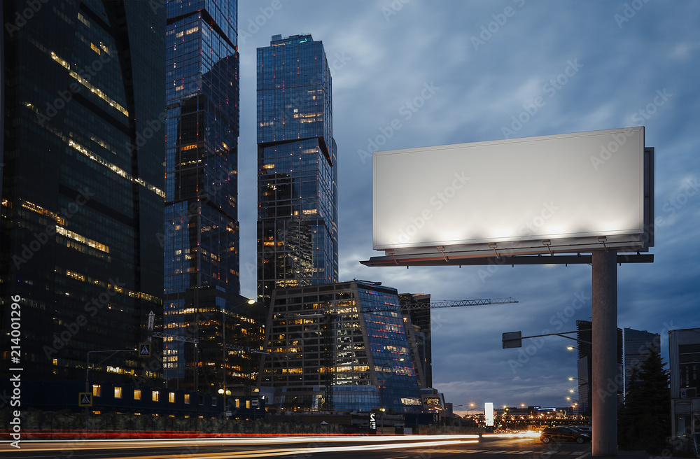Fototapety, obrazy: Blank billboard at twilight next to skyscrapers. 3d rendering