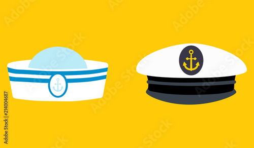 Leinwand Poster Sailor hat set, marine captain clothing