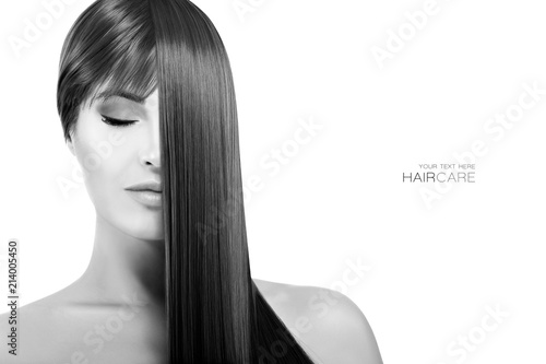 Recess Fitting Hair Salon Beautiful woman with healthy long hair. Straightening Treatment