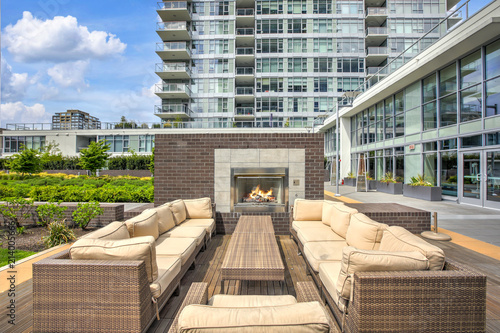 Luxury apartment building with open-air park. Canvas Print