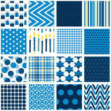 Hanukkah Seamless Pattern Set. Chanukah Repeating Patterns For Gift Wrap, Cards, Gift Tags, Gift Bags And More. Blue And Yellow, Star, Dreidel, Chevron, Polka Dot, Stripe Plaid And Geometric Prints.